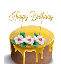 happy birthday cake watercolor yellow top golden vector image