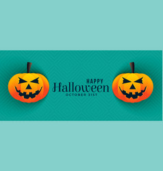 happy halloween pumpkin banners design vector image