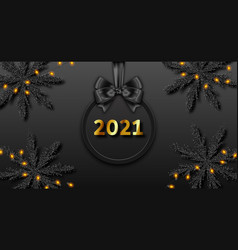 happy new year 2021 dark background with vector image