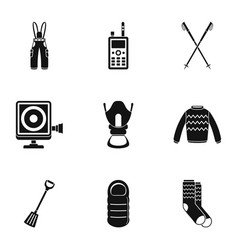 Hike tool icons set simple style vector