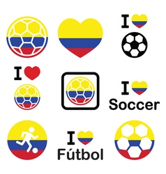 I love Colombian football soccer icons set vector image