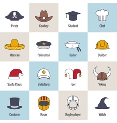 Icons Hat Flat Line vector