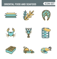 Icons line set premium quality of oriental food vector