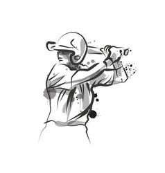 ink sketch baseball player vector image