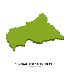 Isometric map of Central African Republic detailed vector image