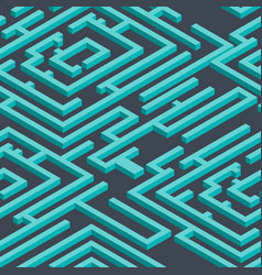 Isometric seamless pattern 3d maze blue repeating vector