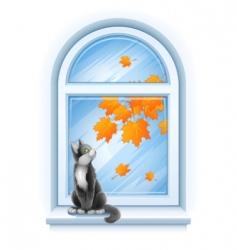 kitten on windowsill vector image