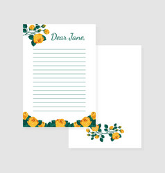 letter shirt paper template with flowers lined vector image