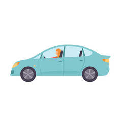 Light blue sedan car with female driver side view vector