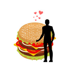 Lover fast food man and hamburger embrace guy and vector