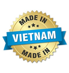 made in Vietnam gold badge with blue ribbon vector image