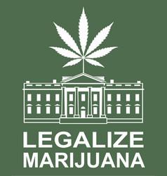 Marijuana leaf on white house vector