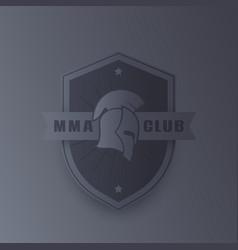 mma emblem logo with spartan helmet vector image