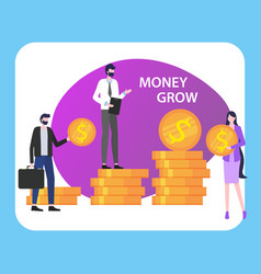 money grow people man woman with dollar coin stack vector image