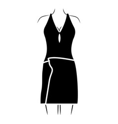 monochrome silhouette of woman in swimsuit and vector image
