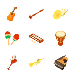 musical instrument icons set isometric style vector image