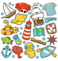 Nautical Marine Life Stickers Badges Patches vector image
