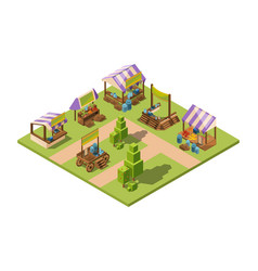outdoor food market isometric local farm grocery vector image