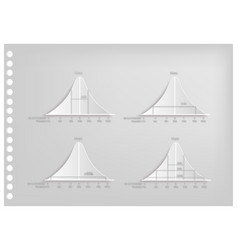 paper art of normal distribution diagram curves vector image