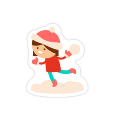 Paper sticker on white background child playing vector