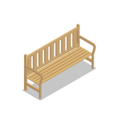 park wooden bench isometric 3d icon vector image