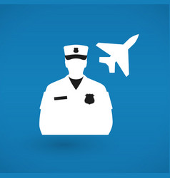 Pilot or customs official and plane icon vector