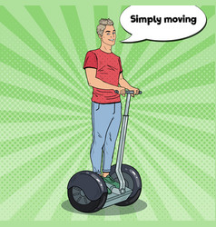 Pop art young man using segway urban transport vector