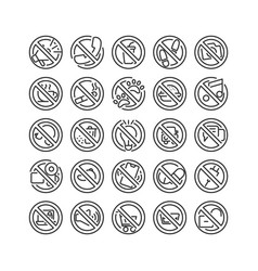 Prohibition sign outline icon set vector