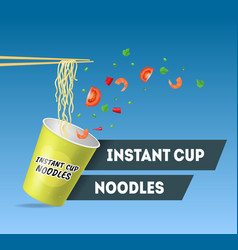realistic detailed 3d instant noodles card poster vector image