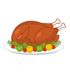 roast turkey for thanksgiving fowl on plate roast vector image