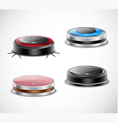 Robotic vacuum cleaners set vector