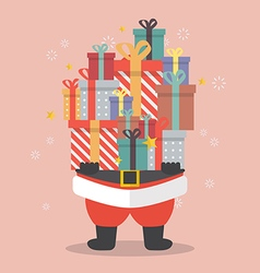 Santa Claus holding a pile of gift boxes vector