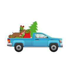 Santa claus hurry on party santa driving pickup vector