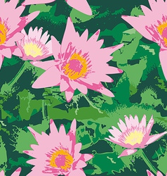 Seamless pattern with pink lotus flowers and green vector image