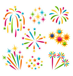 Set bright colorful fireworks and salute vector