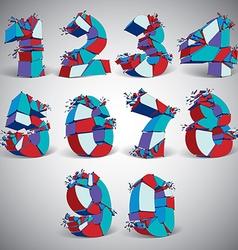 Set of 3d blue wireframe numbers broken into vector image