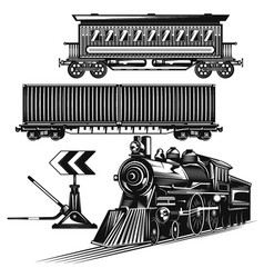 Set trains on road vector