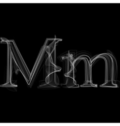 Smoke font Letter M vector image
