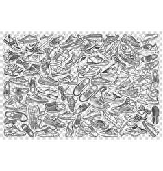 sneakers doodle set vector image