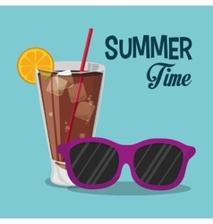 Summer time sunglasses cold soda with straw vector