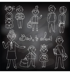 The teacher with the students Drawing chalk vector