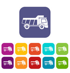 Toy truck icons set flat vector