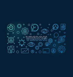 vision horizontal blue line banner vector image