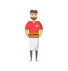 waiter man with food icon in flat style vector image