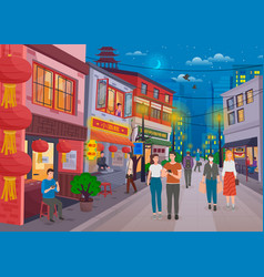 Walk in chinese street with showcase trade vector