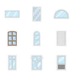 Window icons set cartoon style vector