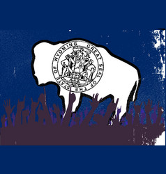 Wyoming state flag with audience vector