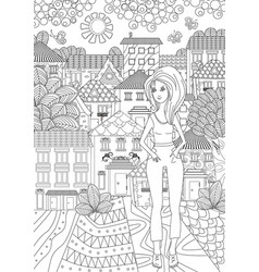 beautiful girl for coloring book vector image