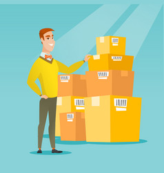 business man checking boxes in warehouse vector image