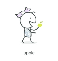 Cartoon girl eating an apple vector image vector image